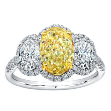 Load image into Gallery viewer, 2 Carat Oval Cut Fancy Yellow Diamond Three Stone Engagement Ring, Engagement Ring,  - [Wachler]