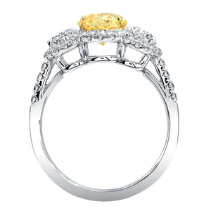 2 Carat Oval Cut Fancy Yellow Diamond Three Stone Engagement Ring, Engagement Ring,  - [Wachler]