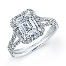Load image into Gallery viewer, Emerald Cut Diamond Engagement Ring with Pave Halo, Engagement Ring,  - [Wachler]