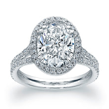 Load image into Gallery viewer, 3 Carat Oval Diamond Engagement Ring with Pave Halo, Engagement Ring,  - [Wachler]