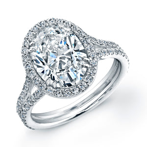 3 Carat Oval Diamond Engagement Ring with Pave Halo, Engagement Ring,  - [Wachler]