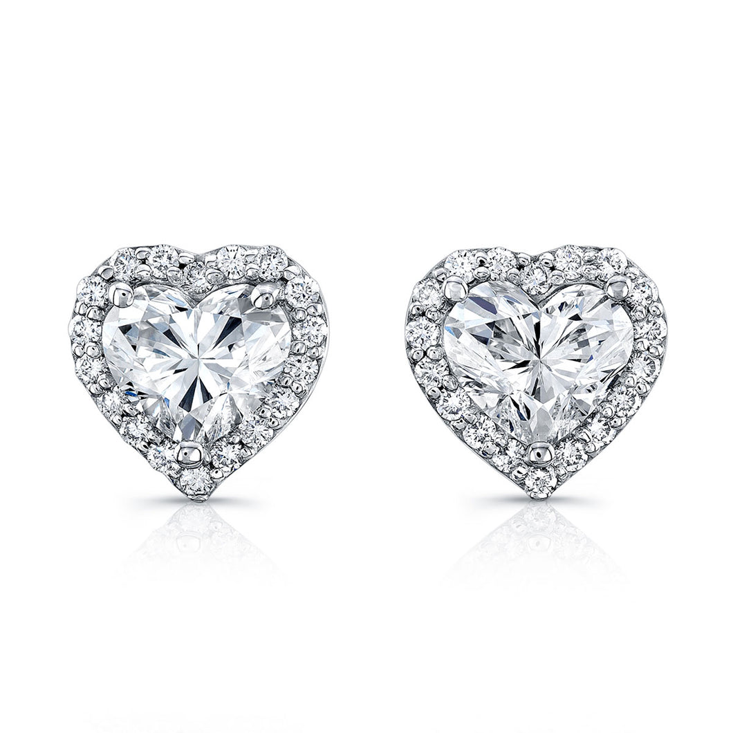 Heart Shaped Diamond Stud Earrings, Earrings,  - [Wachler]