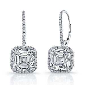 10.16ct Asscher Cut Diamond Earrings With Pave Halo Setting, Earrings,  - [Wachler]
