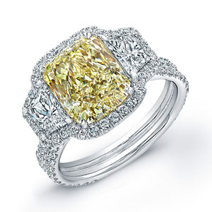 Fancy Yellow Radiant Cut Diamond Cut Engagement Ring, Engagement Ring,  - [Wachler]