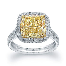 Load image into Gallery viewer, Fancy Yellow Cushion Cut Diamond Engagement Ring with Pave Halo, Engagement Ring,  - [Wachler]