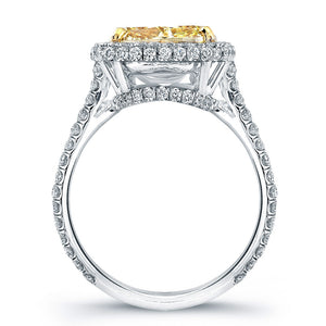 Fancy Yellow Cushion Cut Diamond Engagement Ring with Pave Halo, Engagement Ring,  - [Wachler]