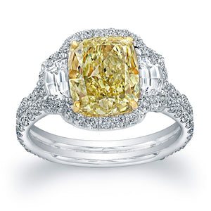 Cushion Cut Fancy Yellow Diamond Engagement Ring with Pave Halo, Engagement Ring,  - [Wachler]