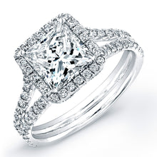 Load image into Gallery viewer, Princess Cut Diamond Engagement Ring with Pave Halo, Engagement Ring,  - [Wachler]