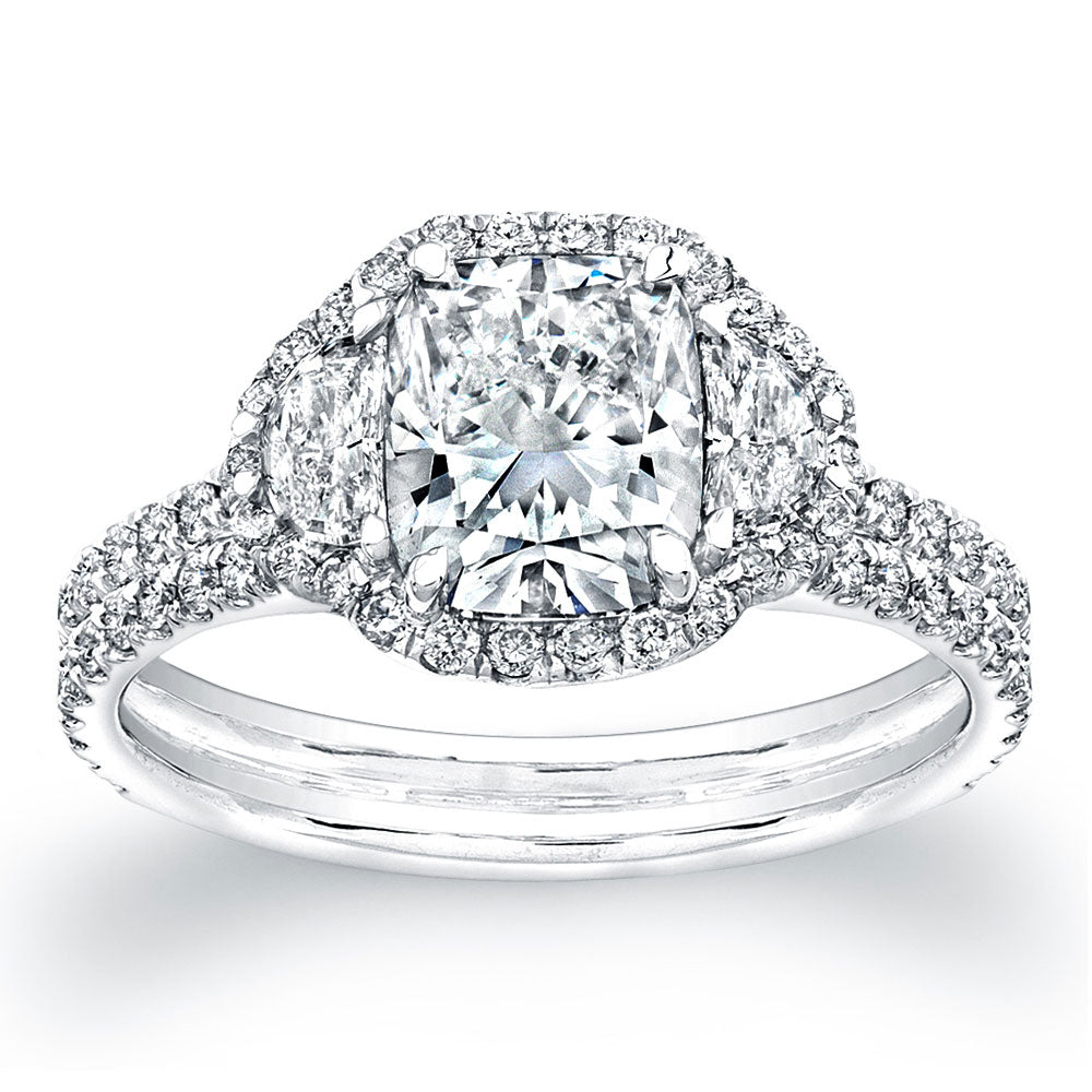 Cushion Cut Diamond Engagement Ring with Pave Halo, Engagement Ring,  - [Wachler]