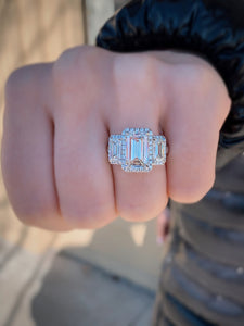 3 Stone Emerald Cut Diamond Halo Ring IG 2/14