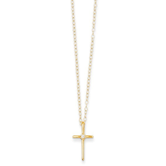 14k Gold Cross Diamond Baby Pendant