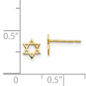 14k Gold Star of David Children's Earrings