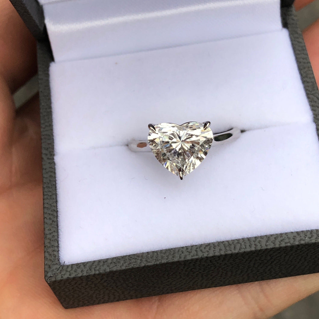 Heart Shaped Solitaire Cathedral Ring