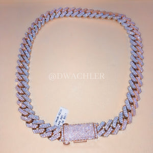 14k Two-Tone Miami Cuban Link Diamond Chain 22""