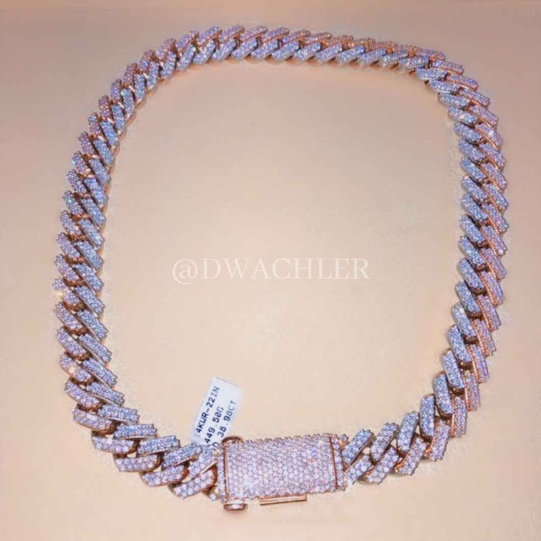 14k Two-Tone Miami Cuban Link Diamond Chain 22