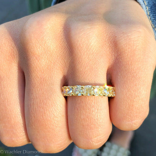 Wachler Fancy Yellow Cushion Eternity Band 6.5ct