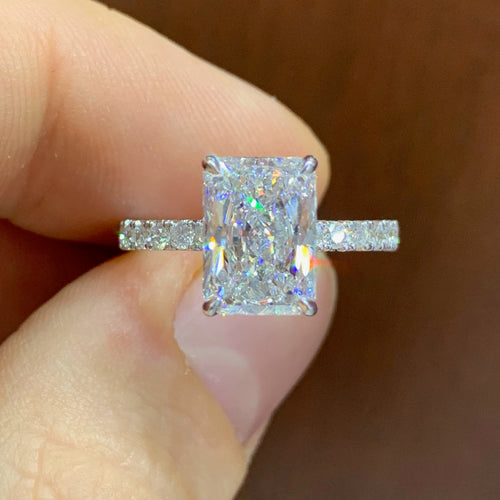 Radiant Cut Hidden Halo Ring
