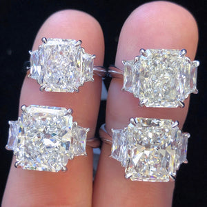 Three Stone Radiant Cut Ring (Elongated) + Trapezoid Sides