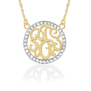 14k Gold & Diamond Initial Pendant, Necklace,  - [Wachler]