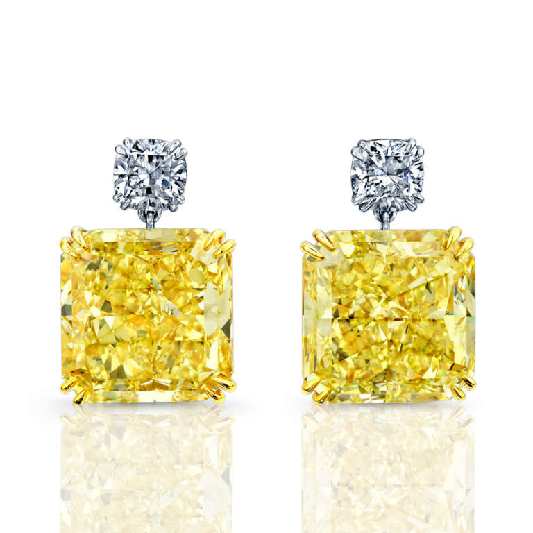 38ct Radiant Cut Yellow Diamond Earrings, Earrings,  - [Wachler]