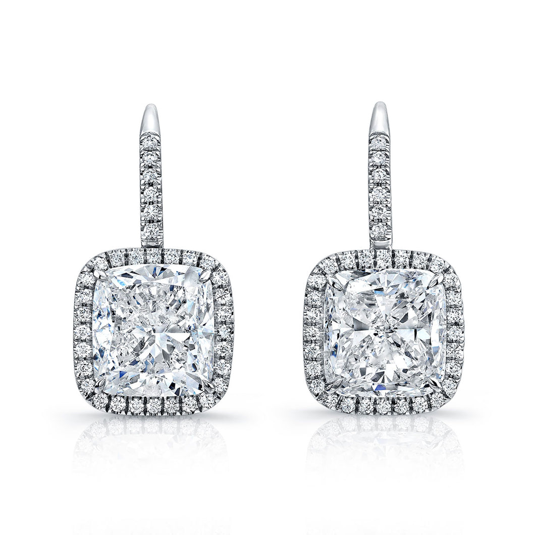 Cushion Cut Diamond Earrings With Pave Halo in Platinum, Earrings,  - [Wachler]
