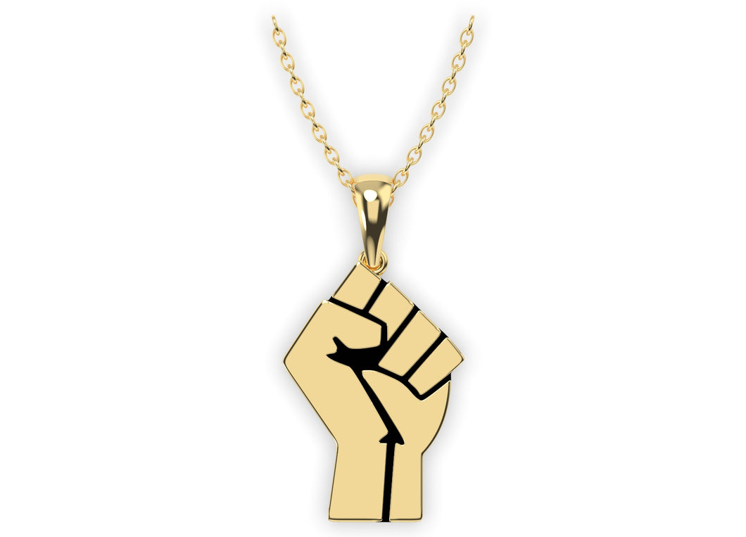 14k Gold Black Lives Matter Fist Pendant