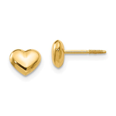 14k Gold Puffy Heart Children's Earrings
