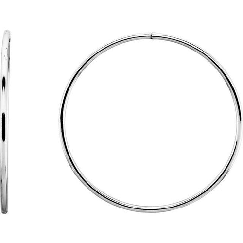 Sterling Silver 45 mm Endless Hoop Tube Earrings
