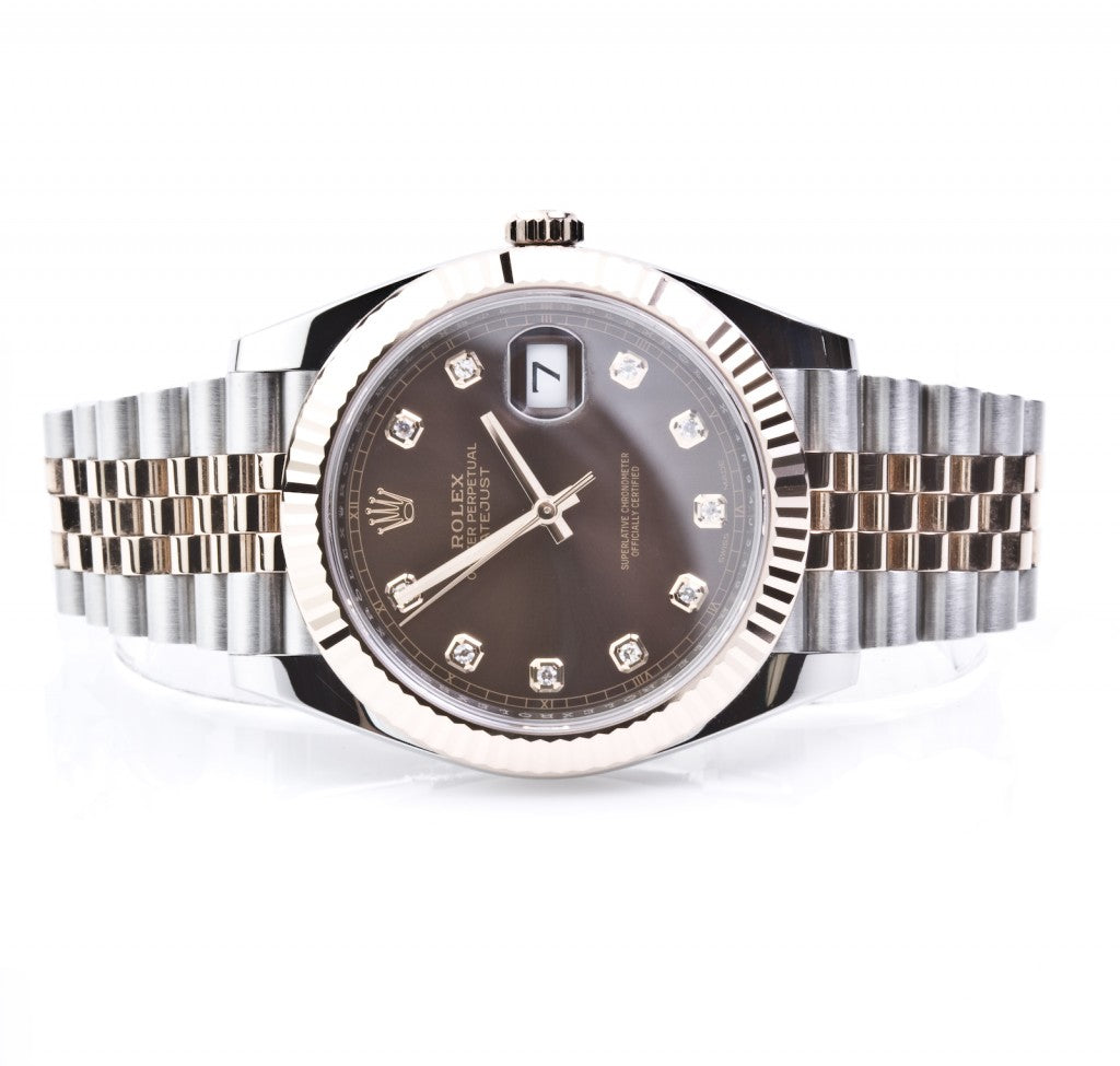 Rolex Datejust 41mm Everose Gold and Steel 126331 Diamond Dial, Watch,  - [Wachler]