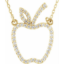 "Load image into Gallery viewer, 14K Gold 1/5 CTW Diamond Apple 16"" Necklace"