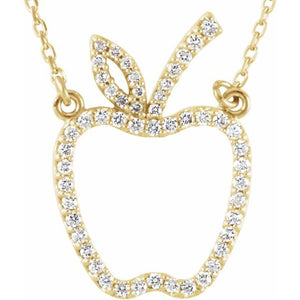 "14K Gold 1/5 CTW Diamond Apple 16"" Necklace"