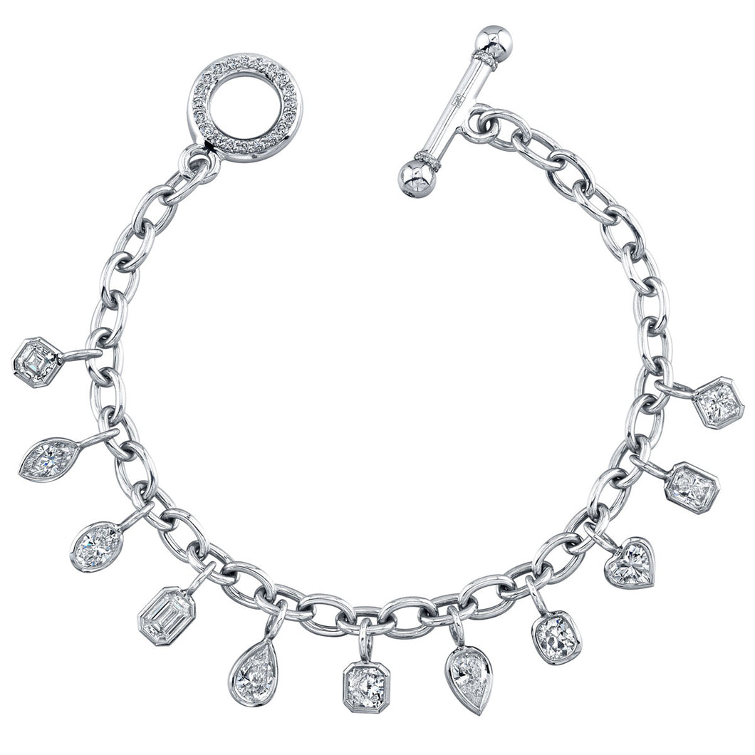 Mixed Shapes Diamond Charm Bracelet, Bracelet,  - [Wachler]