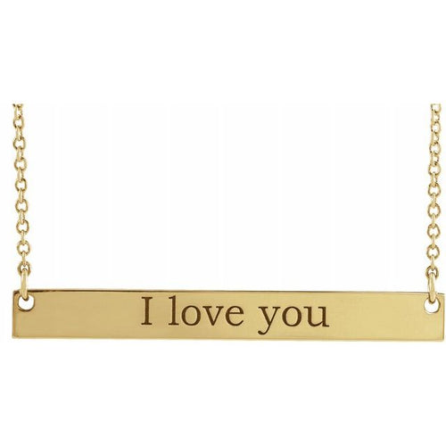 14k Gold Engravable Bar Necklace w/ 18