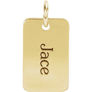14K Gold Engravable Mini Dog Tag Pendant 16x10 mm, Pendant,  - [Wachler]