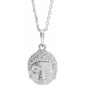 14K Gold 1/8 CTW Diamond Buddha Pendant