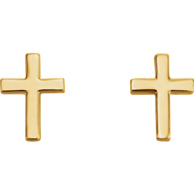 14K Gold Cross Earrings, Earrings,  - [Wachler]
