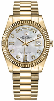 Day-Date 36 Fluted Bezel President Bracelet Women's Watch 128238