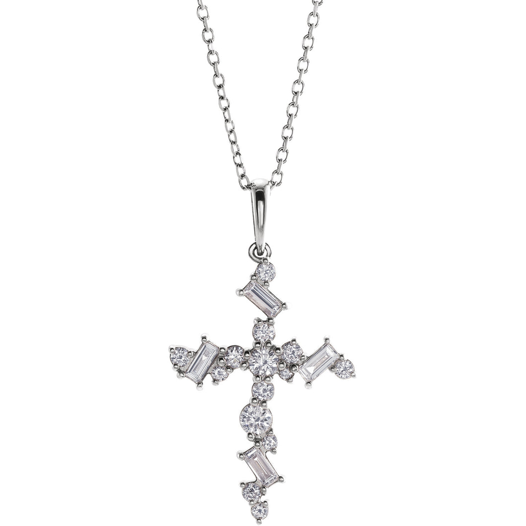 14K Rose 0.37ct Diamond Scattered Cross Necklace, Pendant,  - [Wachler]