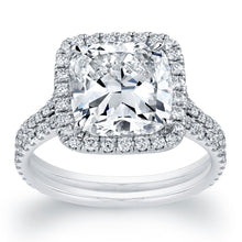 Load image into Gallery viewer, Cushion Cut Halo Double Engagement Ring, Engagement Ring,  - [Wachler]
