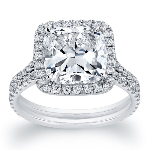 Cushion Cut Halo Double Engagement Ring, Engagement Ring,  - [Wachler]