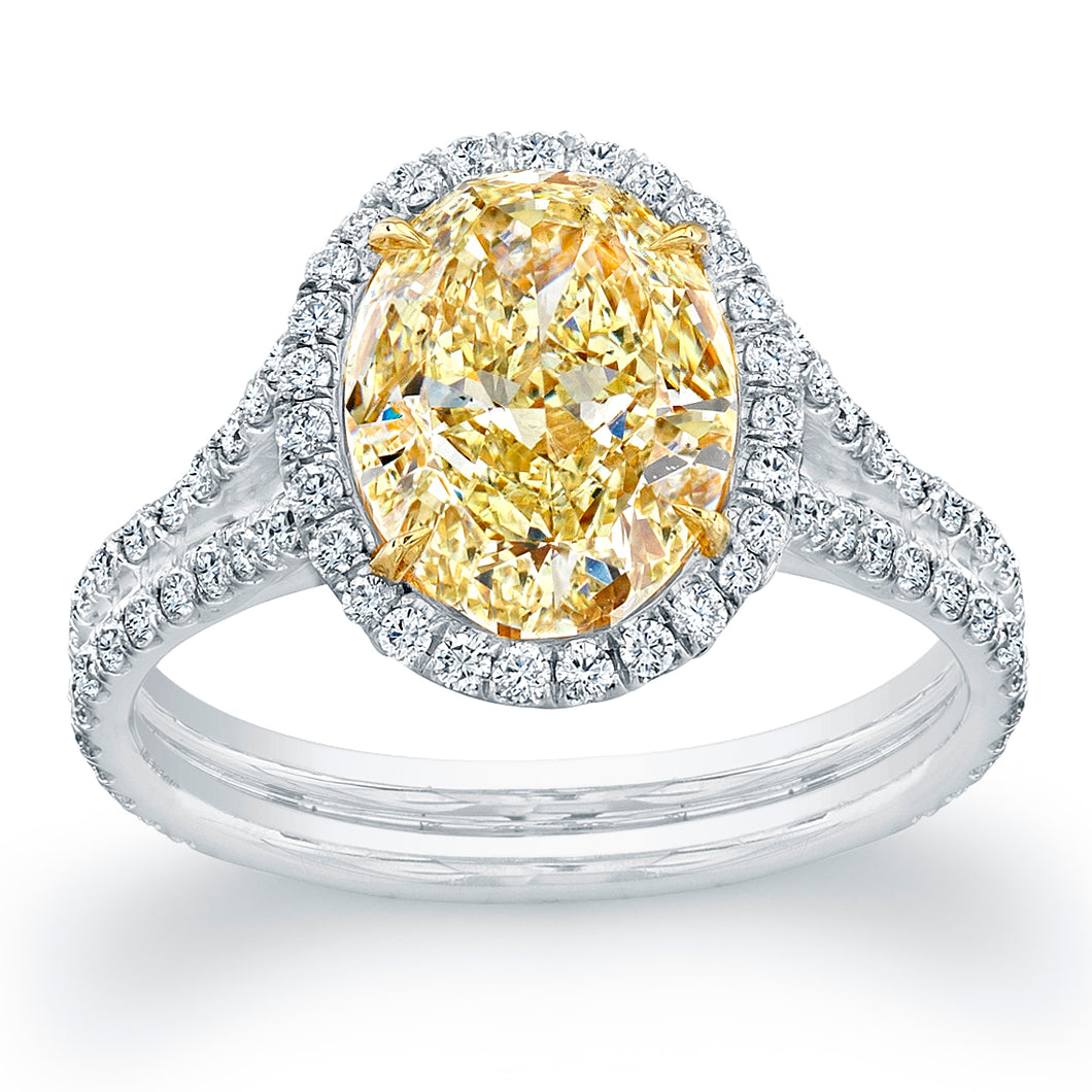 Fancy Yellow Oval Cut Diamond Engagment Ring with Pave Halo, Engagement Ring,  - [Wachler]