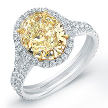 Load image into Gallery viewer, Fancy Yellow Oval Cut Diamond Engagment Ring with Pave Halo, Engagement Ring,  - [Wachler]