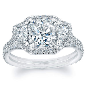 Radiant Cut Diamond Engagement Ring with Pave Halo, Engagement Ring,  - [Wachler]