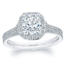 Load image into Gallery viewer, Cushion Cut Diamond Engagement Rings with Pave Halo, Engagement Ring,  - [Wachler]