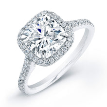 Load image into Gallery viewer, Cushion Cut Diamond Engagement Ring with Pave Halo, Engagement Ring,  - [Wachler]