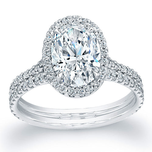 Oval Cut Diamond Engagement Ring with Pave Halo, Engagement Ring,  - [Wachler]
