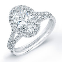 Load image into Gallery viewer, Oval Cut Diamond Engagement Ring with Pave Halo, Engagement Ring,  - [Wachler]