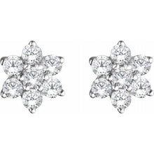 Load image into Gallery viewer, 14K White Gold 3/8 CTW Diamond Flower Earrings