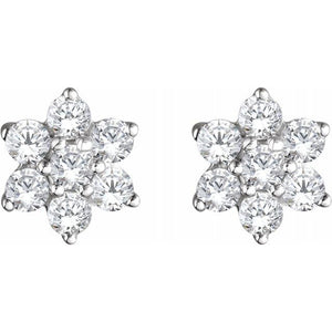 14K White Gold 3/8 CTW Diamond Flower Earrings