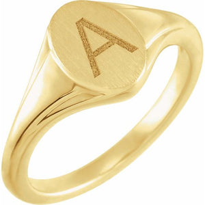 14K Gold 10.4x7.1 mm Oval Fluted Signet Ring